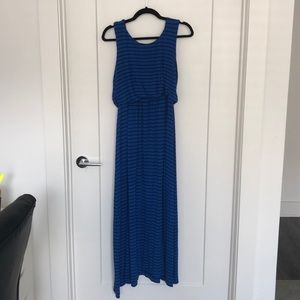 Maxi blue and black striped dress